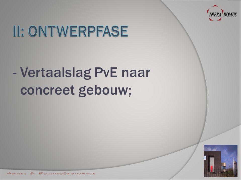 - Vertaalslag PvE naar concreet gebouw;