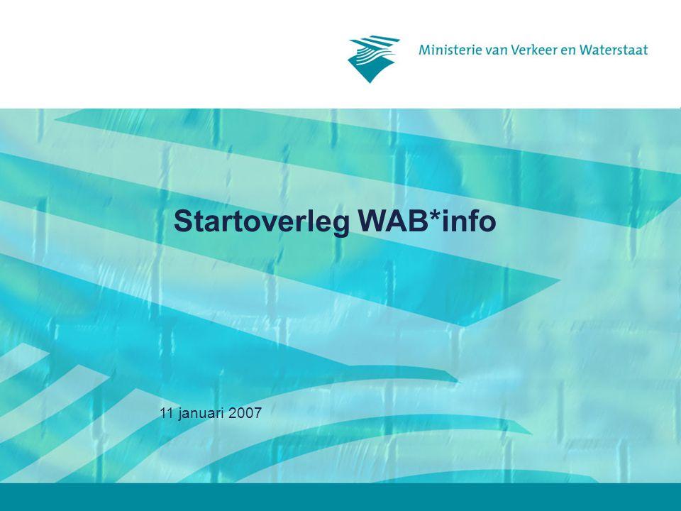 11 januari 20072 Inhoud 2)Kennismaking met WAB*info –Waarom WAB*info –Hoe WAB*info –Wat in WAB*info –Demonstratie 3) Implementatie bij regionale diensten 5) Rolverdeling betrokkenen 6) Communicatie