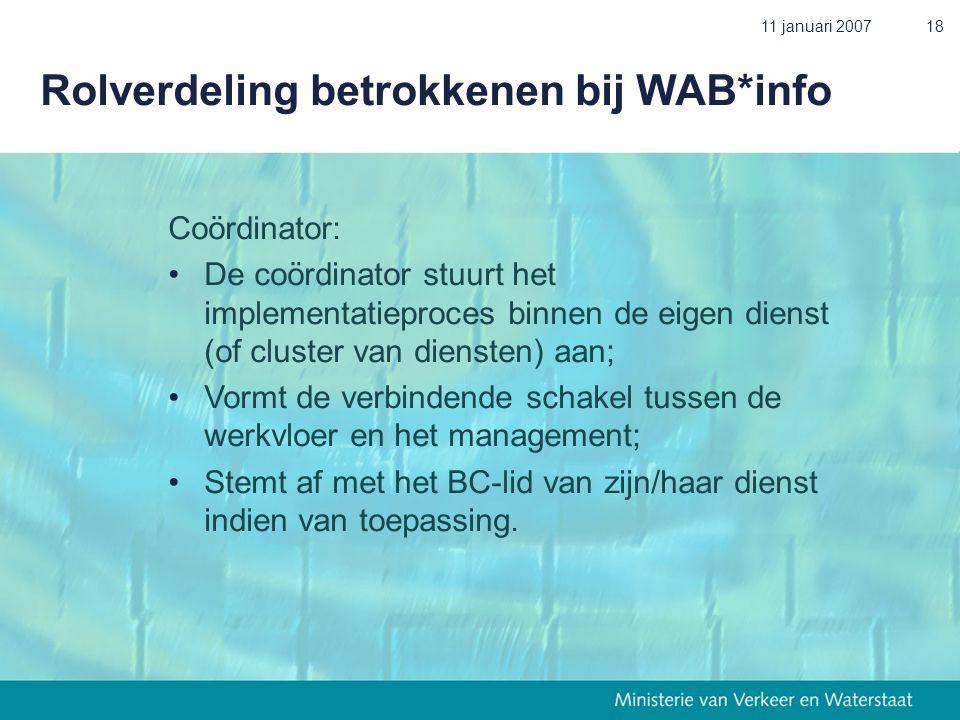11 januari 200718 Rolverdeling betrokkenen bij WAB*info Coördinator: •De coördinator stuurt het implementatieproces binnen de eigen dienst (of cluster van diensten) aan; • Vormt de verbindende schakel tussen de werkvloer en het management; • Stemt af met het BC-lid van zijn/haar dienst indien van toepassing.