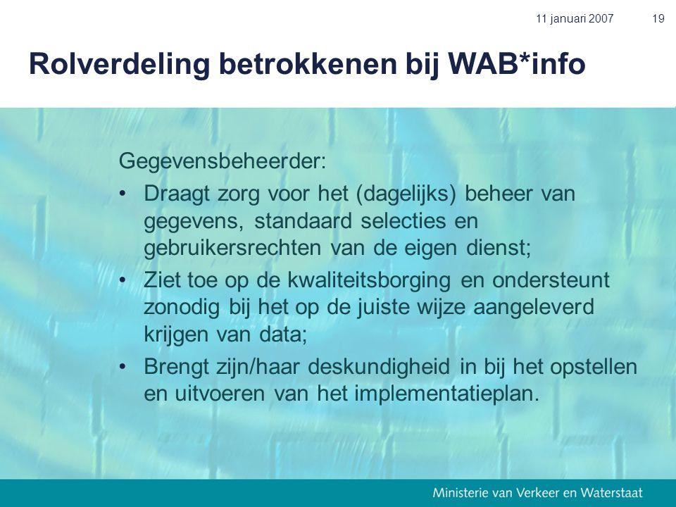 11 januari 200719 Rolverdeling betrokkenen bij WAB*info Gegevensbeheerder: • Draagt zorg voor het (dagelijks) beheer van gegevens, standaard selecties en gebruikersrechten van de eigen dienst; • Ziet toe op de kwaliteitsborging en ondersteunt zonodig bij het op de juiste wijze aangeleverd krijgen van data; • Brengt zijn/haar deskundigheid in bij het opstellen en uitvoeren van het implementatieplan.