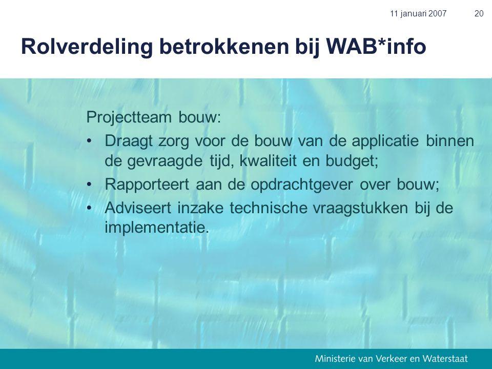 11 januari 200720 Rolverdeling betrokkenen bij WAB*info Projectteam bouw: • Draagt zorg voor de bouw van de applicatie binnen de gevraagde tijd, kwali