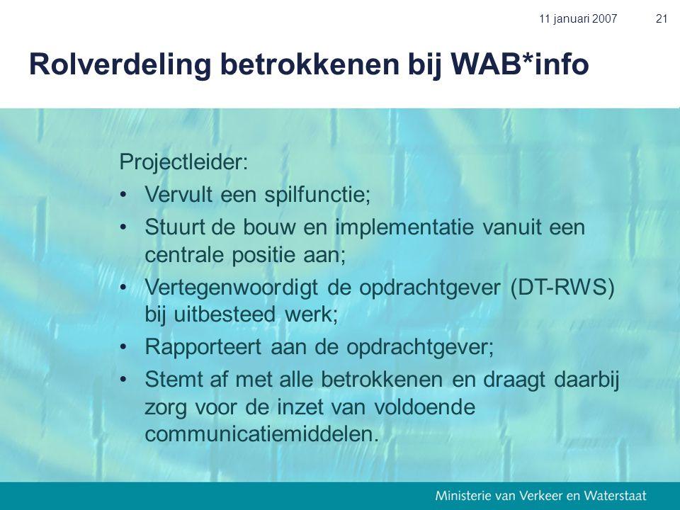 11 januari 200721 Rolverdeling betrokkenen bij WAB*info Projectleider: • Vervult een spilfunctie; • Stuurt de bouw en implementatie vanuit een central