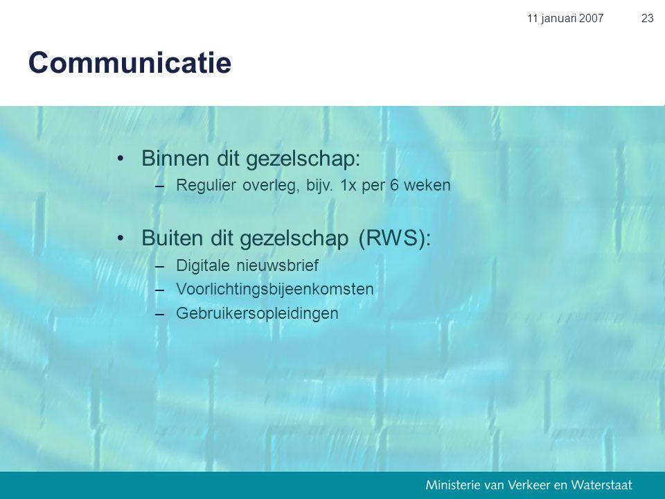 11 januari 200723 Communicatie • Binnen dit gezelschap: – Regulier overleg, bijv. 1x per 6 weken • Buiten dit gezelschap (RWS): – Digitale nieuwsbrief