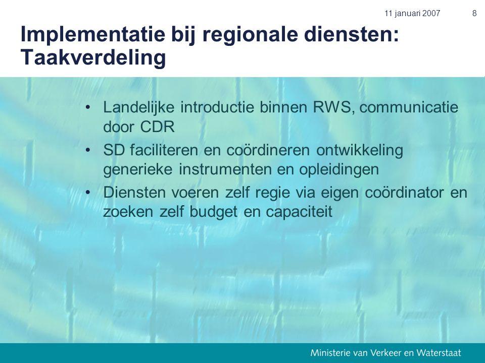 11 januari 20078 Implementatie bij regionale diensten: Taakverdeling •Landelijke introductie binnen RWS, communicatie door CDR •SD faciliteren en coör