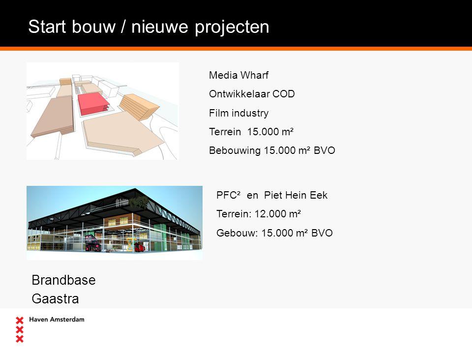 Start bouw / nieuwe projecten Brandbase Gaastra Media Wharf Ontwikkelaar COD Film industry Terrein 15.000 m² Bebouwing 15.000 m² BVO PFC² en Piet Hein Eek Terrein: 12.000 m² Gebouw: 15.000 m² BVO
