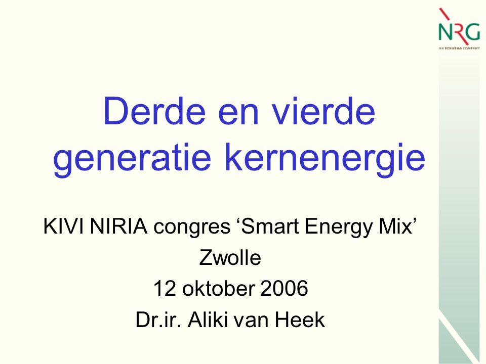 Derde en vierde generatie kernenergie KIVI NIRIA congres 'Smart Energy Mix' Zwolle 12 oktober 2006 Dr.ir.