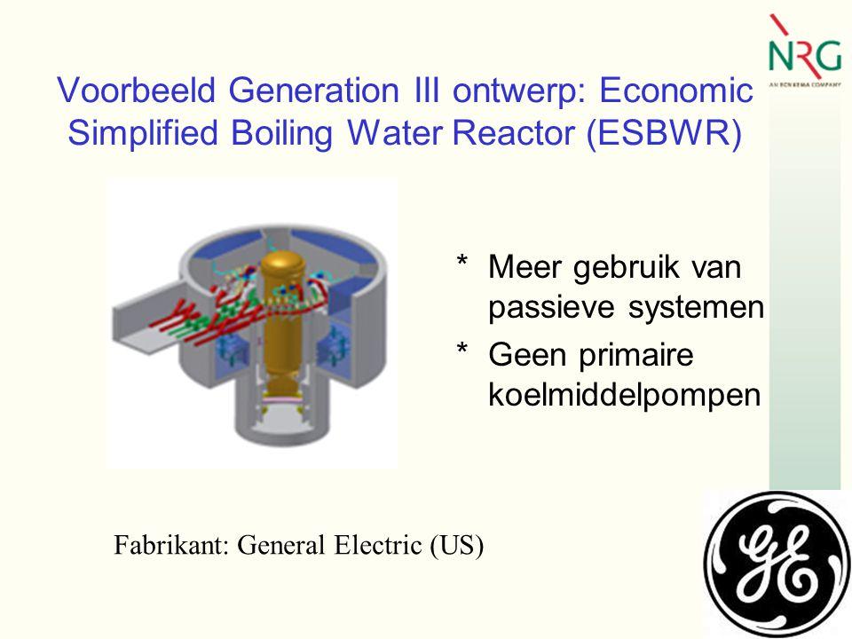 Voorbeeld Generation III ontwerp: Economic Simplified Boiling Water Reactor (ESBWR) *Meer gebruik van passieve systemen *Geen primaire koelmiddelpompen Fabrikant: General Electric (US)