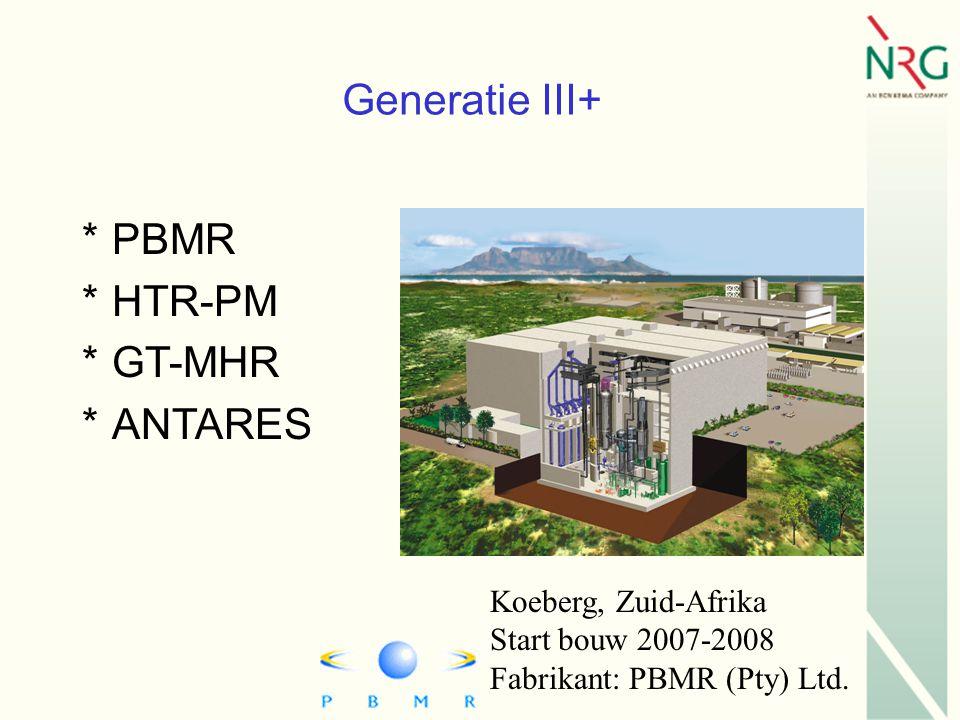 Koeberg, Zuid-Afrika Start bouw 2007-2008 Fabrikant: PBMR (Pty) Ltd.