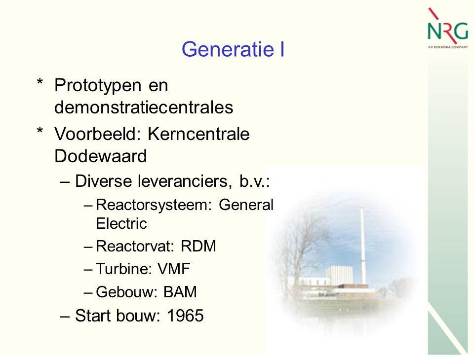 Generatie I *Prototypen en demonstratiecentrales *Voorbeeld: Kerncentrale Dodewaard –Diverse leveranciers, b.v.: –Reactorsysteem: General Electric –Reactorvat: RDM –Turbine: VMF –Gebouw: BAM –Start bouw: 1965