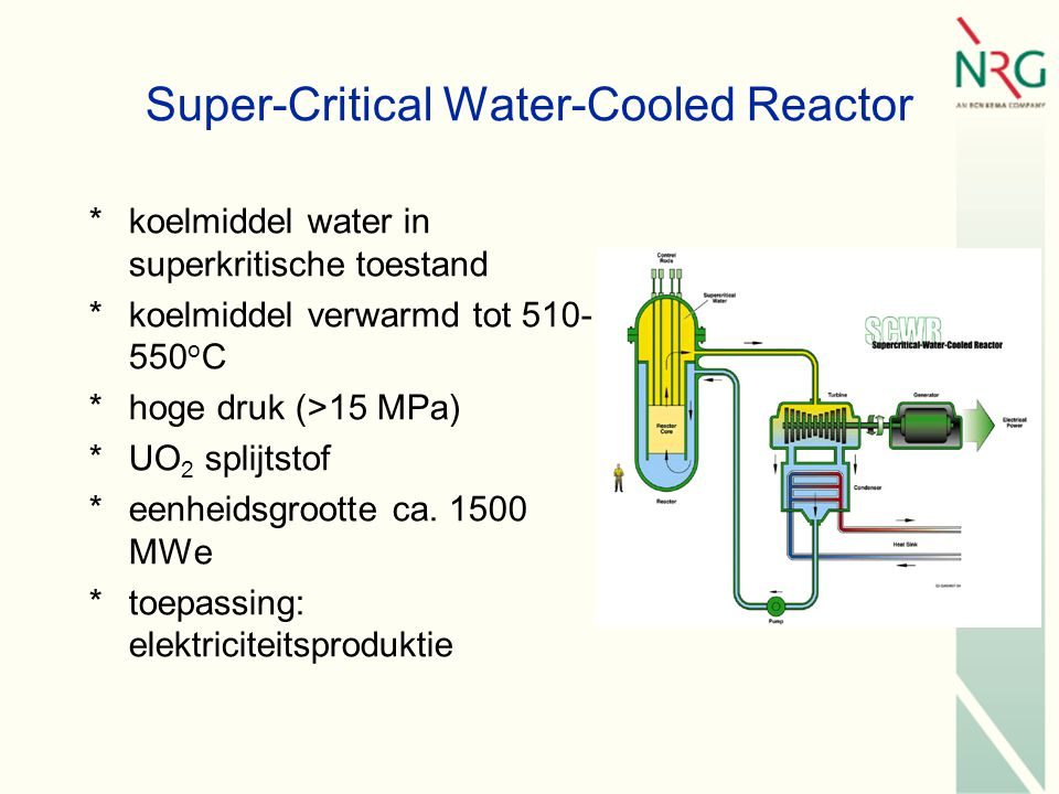 Super-Critical Water-Cooled Reactor *koelmiddel water in superkritische toestand *koelmiddel verwarmd tot 510- 550 o C *hoge druk (>15 MPa) *UO 2 splijtstof *eenheidsgrootte ca.