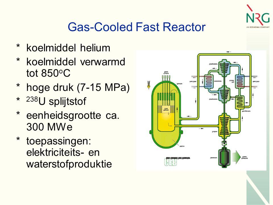 Gas-Cooled Fast Reactor *koelmiddel helium *koelmiddel verwarmd tot 850 o C *hoge druk (7-15 MPa) * 238 U splijtstof *eenheidsgrootte ca.