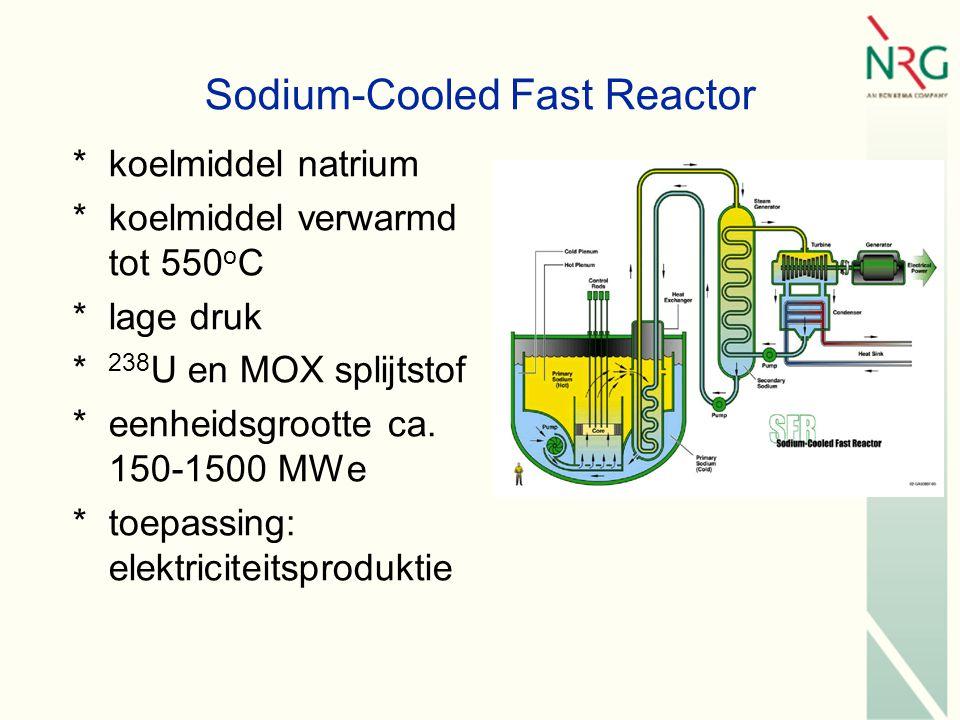 Sodium-Cooled Fast Reactor *koelmiddel natrium *koelmiddel verwarmd tot 550 o C *lage druk * 238 U en MOX splijtstof *eenheidsgrootte ca.