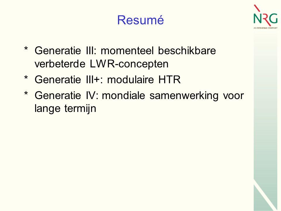 Resumé *Generatie III: momenteel beschikbare verbeterde LWR-concepten *Generatie III+: modulaire HTR *Generatie IV: mondiale samenwerking voor lange termijn