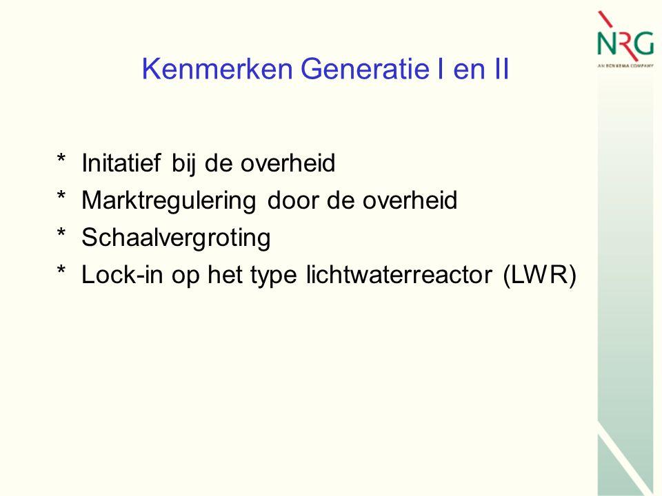 Kenmerken Generatie I en II *Initatief bij de overheid *Marktregulering door de overheid *Schaalvergroting *Lock-in op het type lichtwaterreactor (LWR)