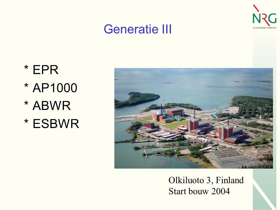 Olkiluoto 3, Finland Start bouw 2004 Generatie III *EPR *AP1000 *ABWR *ESBWR