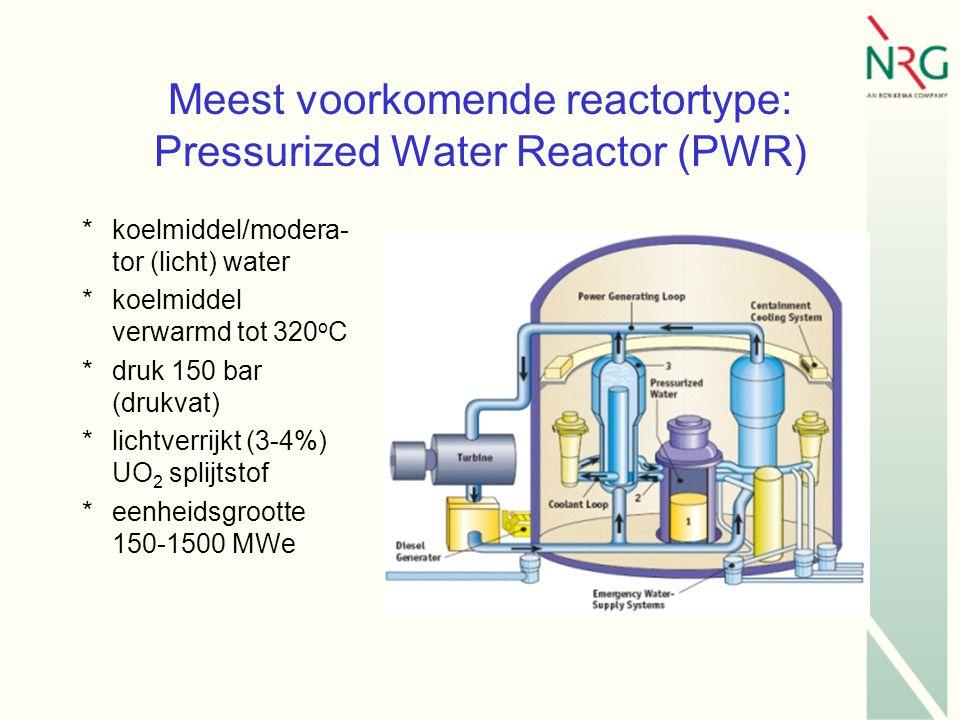 Meest voorkomende reactortype: Pressurized Water Reactor (PWR) *koelmiddel/modera- tor (licht) water *koelmiddel verwarmd tot 320 o C *druk 150 bar (drukvat) *lichtverrijkt (3-4%) UO 2 splijtstof *eenheidsgrootte 150-1500 MWe