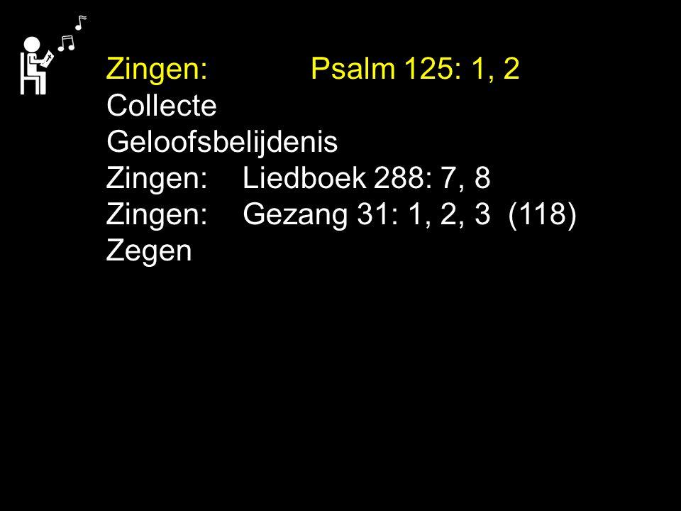 Zingen:Psalm 125: 1, 2 Collecte Geloofsbelijdenis Zingen:Liedboek 288: 7, 8 Zingen:Gezang 31: 1, 2, 3 (118) Zegen