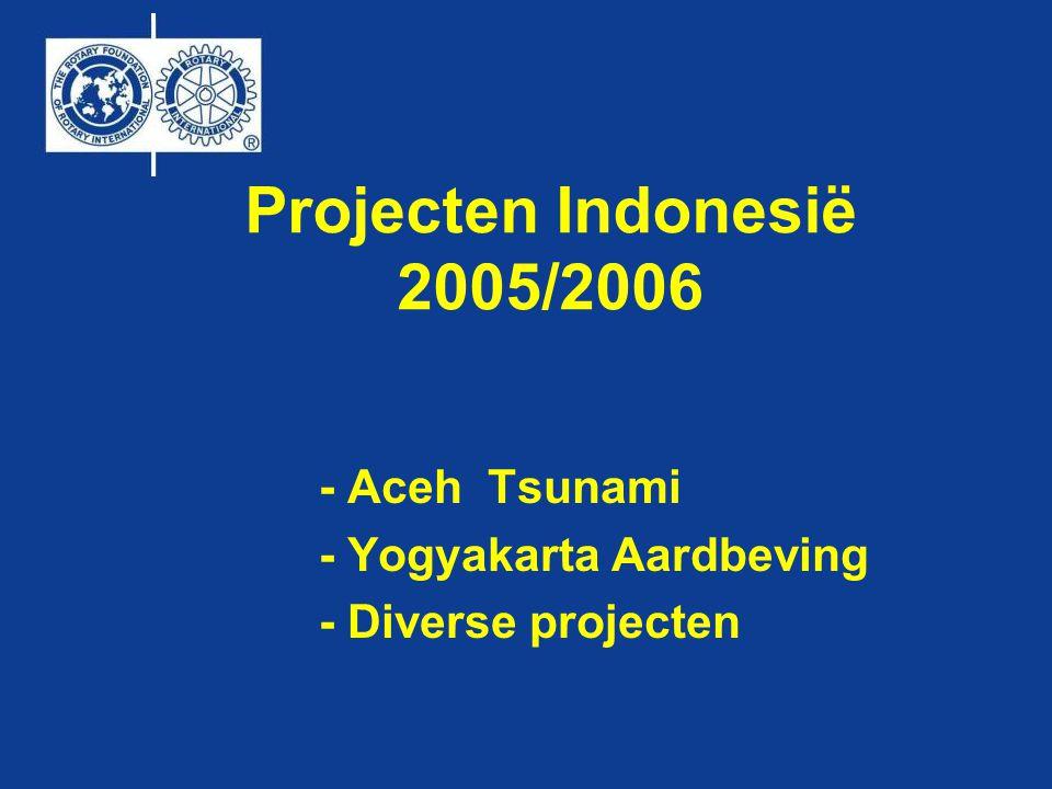 Projecten Indonesië 2005/2006 - Aceh Tsunami - Yogyakarta Aardbeving - Diverse projecten