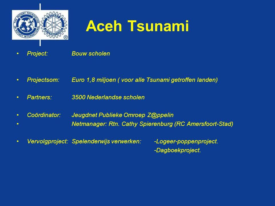 Aceh Tsunami •Project:Bouw scholen •Projectsom:Euro 1,8 miljoen ( voor alle Tsunami getroffen landen) •Partners:3500 Nederlandse scholen •Coördinator:Jeugdnet Publieke Omroep Z@ppelin • Netmanager: Rtn.