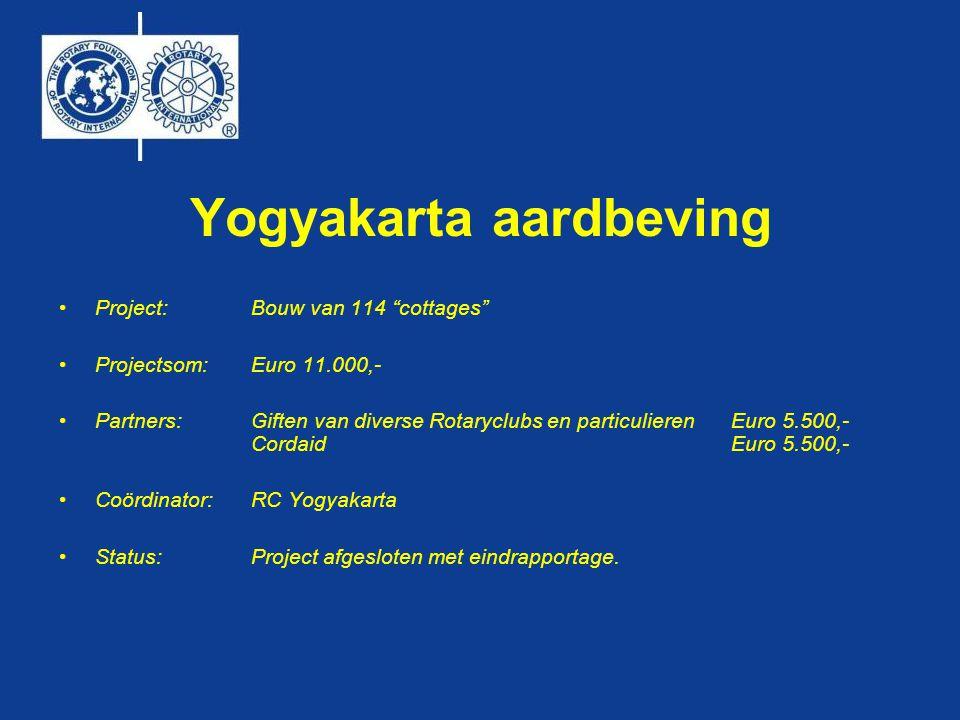 Yogyakarta aardbeving •Project:Bouw van 114 cottages •Projectsom:Euro 11.000,- •Partners: Giften van diverse Rotaryclubs en particulierenEuro 5.500,- Cordaid Euro 5.500,- •Coördinator:RC Yogyakarta •Status: Project afgesloten met eindrapportage.