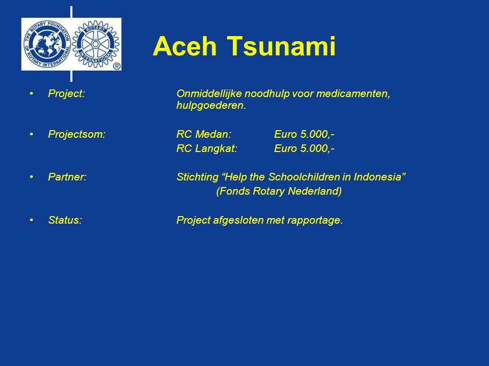 Aceh Tsunami •Project: Onmiddellijke noodhulp voor medicamenten, hulpgoederen.