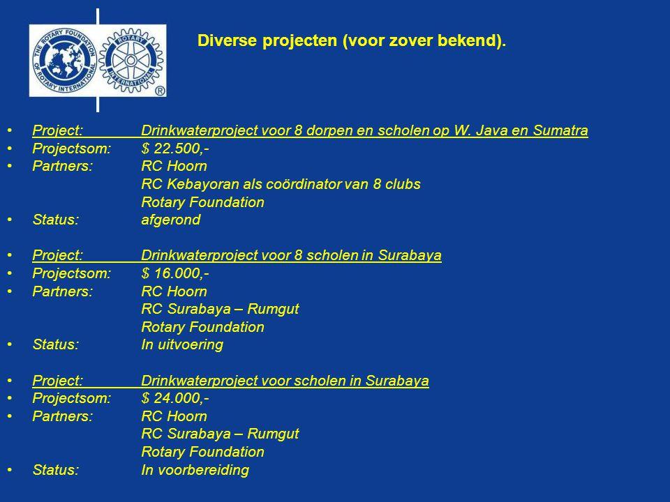 Diverse projecten (voor zover bekend). •Project:Drinkwaterproject voor 8 dorpen en scholen op W.