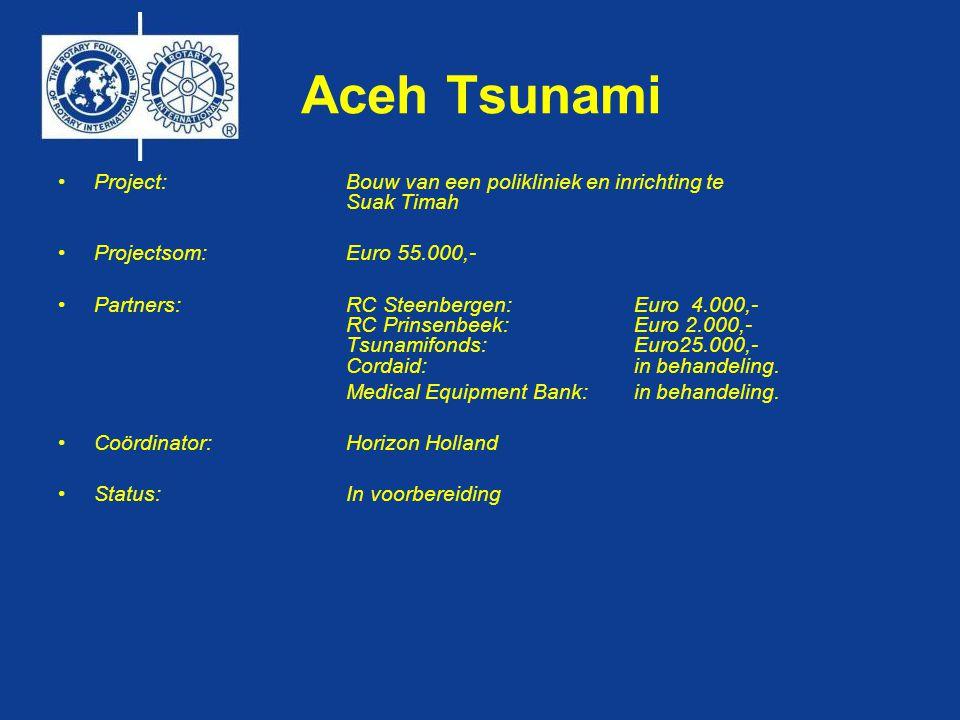 Aceh Tsunami •Project:Bouw van een polikliniek en inrichting te Suak Timah •Projectsom: Euro 55.000,- •Partners: RC Steenbergen:Euro 4.000,- RC Prinsenbeek: Euro 2.000,- Tsunamifonds: Euro25.000,- Cordaid: in behandeling.