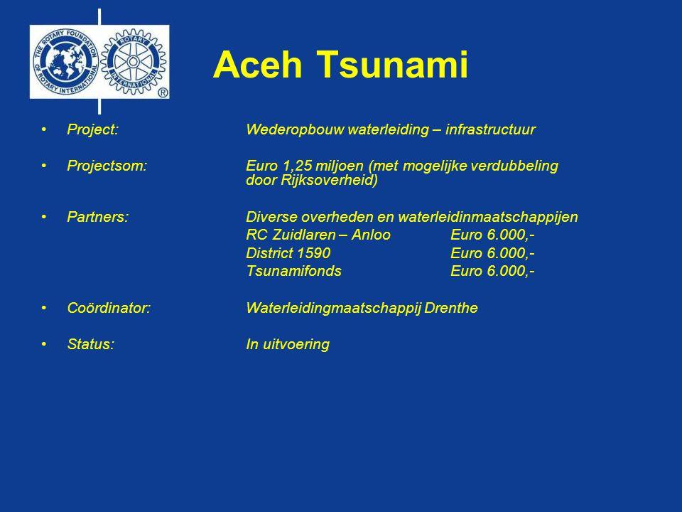 Aceh Tsunami •Project: Wederopbouw waterleiding – infrastructuur •Projectsom: Euro 1,25 miljoen (met mogelijke verdubbeling door Rijksoverheid) •Partners: Diverse overheden en waterleidinmaatschappijen RC Zuidlaren – AnlooEuro 6.000,- District 1590 Euro 6.000,- Tsunamifonds Euro 6.000,- •Coördinator: Waterleidingmaatschappij Drenthe •Status: In uitvoering