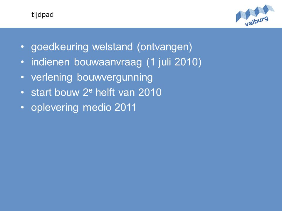 •goedkeuring welstand (ontvangen) •indienen bouwaanvraag (1 juli 2010) •verlening bouwvergunning •start bouw 2 e helft van 2010 •oplevering medio 2011