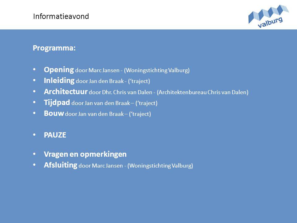 Informatieavond Programma: • Opening door Marc Jansen - (Woningstichting Valburg) • Inleiding door Jan den Braak - ('traject) • Architectuur door Dhr.