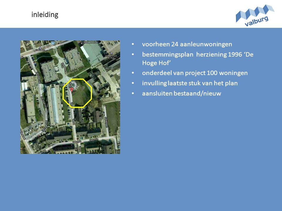 inleiding • voorheen 24 aanleunwoningen • bestemmingsplan herziening 1996 'De Hoge Hof' • onderdeel van project 100 woningen • invulling laatste stuk