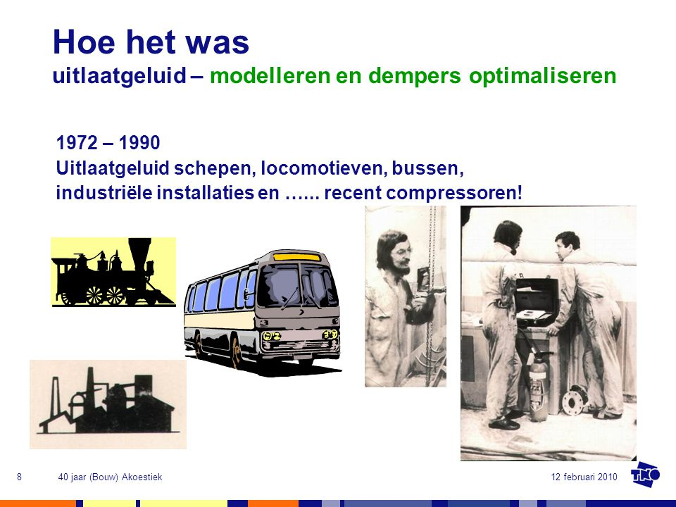 12 februari 201040 jaar (Bouw) Akoestiek9 1975-1980 invloed bodem, wind, schermen - eerste berekeningen op PDP-8 Hoe het was geluidoverdracht buiten – modelleren