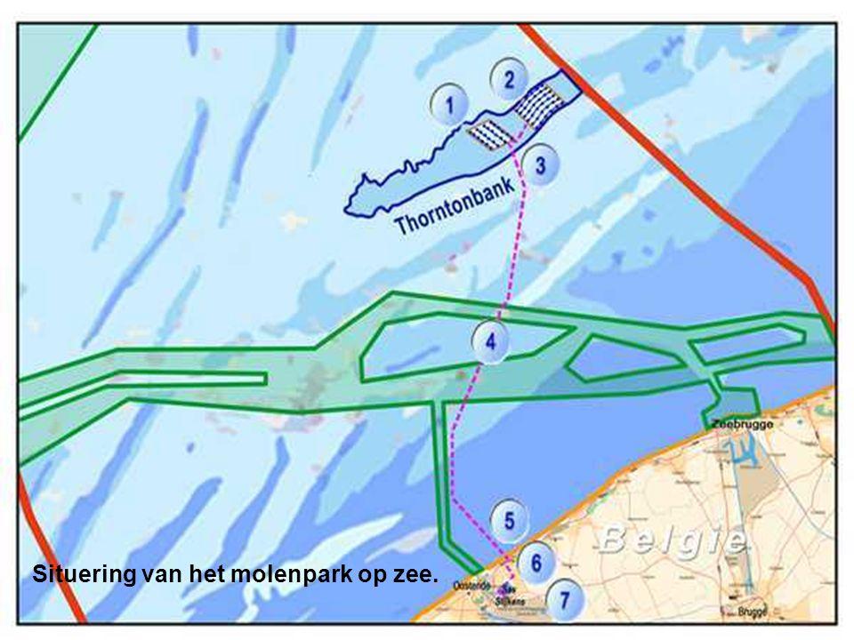 Situering van het molenpark op zee.