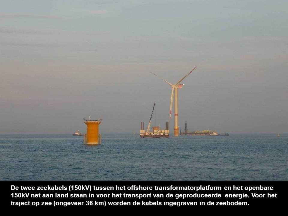 In de windturbine wordt de geproduceerde energie getransformeerd tot een spanningsniveau van 33.000 Volt (33kV).