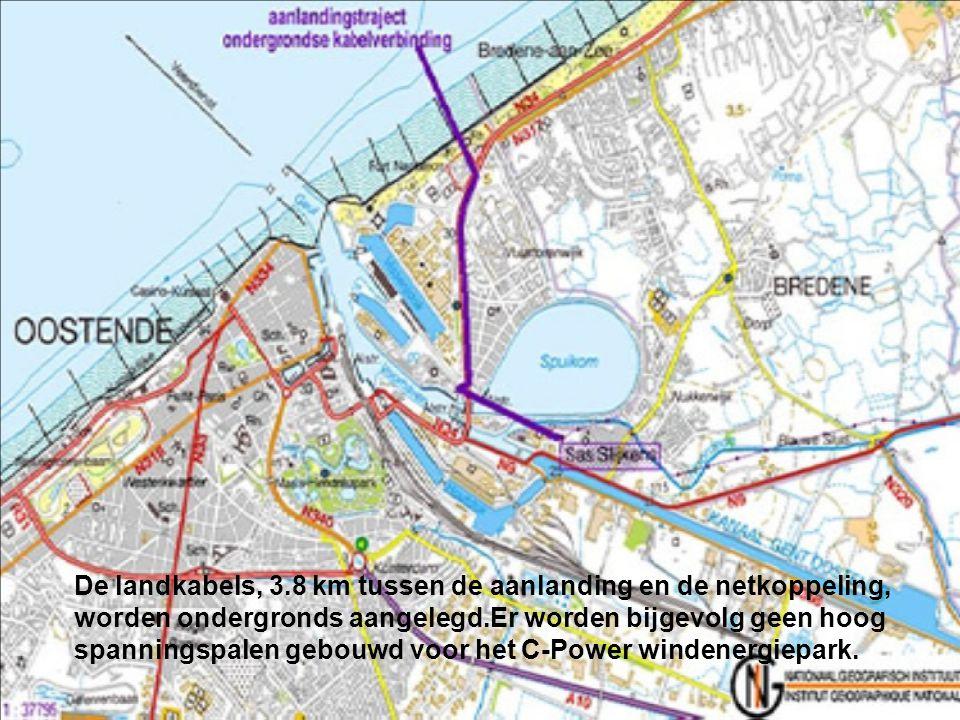 De twee zeekabels (150kV) tussen het offshore transformatorplatform en het openbare 150kV net aan land staan in voor het transport van de geproduceerde energie.