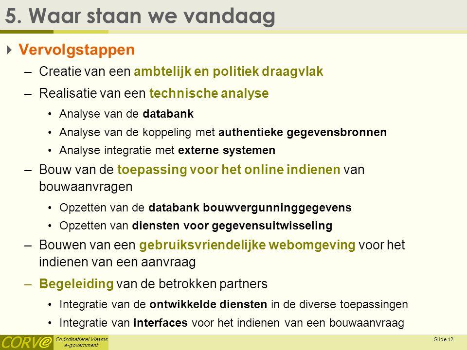 Coördinatiecel Vlaams e-government Slide 12 5. Waar staan we vandaag  Vervolgstappen –Creatie van een ambtelijk en politiek draagvlak –Realisatie van