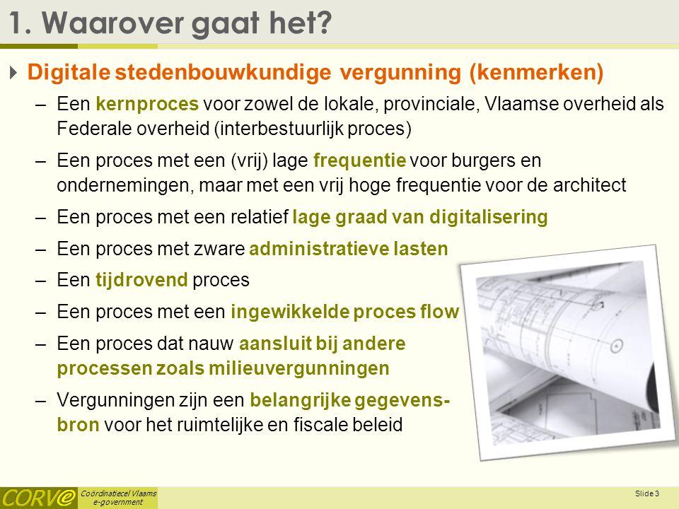Coördinatiecel Vlaams e-government Slide 3 1. Waarover gaat het?  Digitale stedenbouwkundige vergunning (kenmerken) –Een kernproces voor zowel de lok