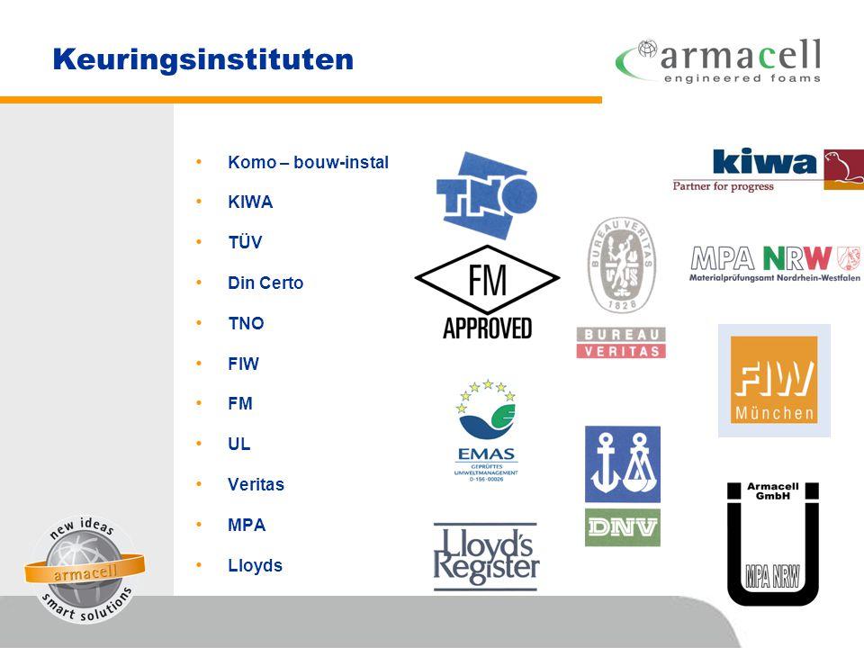 Keuringsinstituten • Komo – bouw-instal • KIWA • TÜV • Din Certo • TNO • FIW • FM • UL • Veritas • MPA • Lloyds