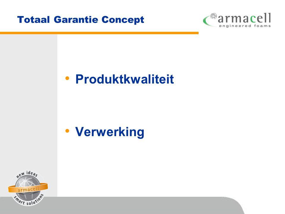 Totaal Garantie Concept • Produktkwaliteit • Verwerking