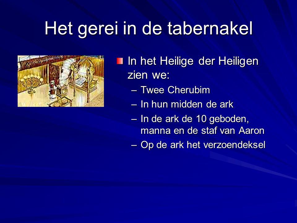 Het gerei in de tabernakel In het Heilige der Heiligen zien we: –Twee Cherubim –In hun midden de ark –In de ark de 10 geboden, manna en de staf van Aa