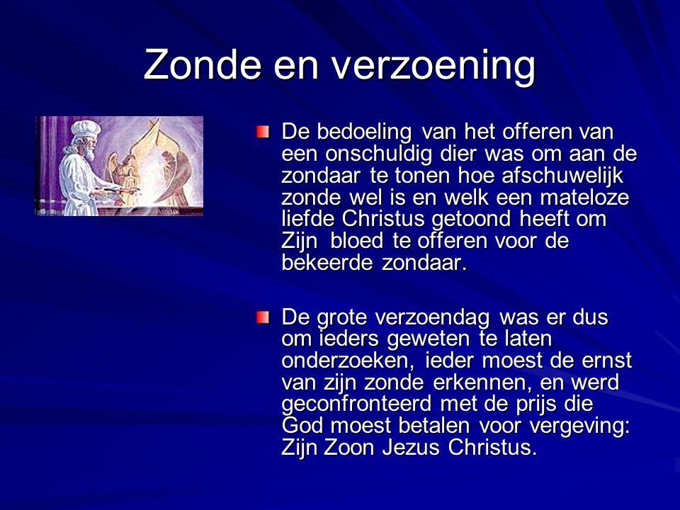 Zonde en verzoening De bedoeling van het offeren van een onschuldig dier was om aan de zondaar te tonen hoe afschuwelijk zonde wel is en welk een mate