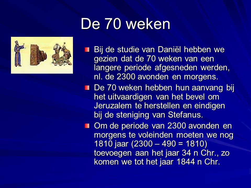 De 70 weken Bij de studie van Daniël hebben we gezien dat de 70 weken van een langere periode afgesneden werden, nl. de 2300 avonden en morgens. De 70