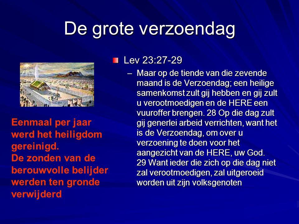 De grote verzoendag Lev 23:27-29 –Maar op de tiende van die zevende maand is de Verzoendag; een heilige samenkomst zult gij hebben en gij zult u veroo