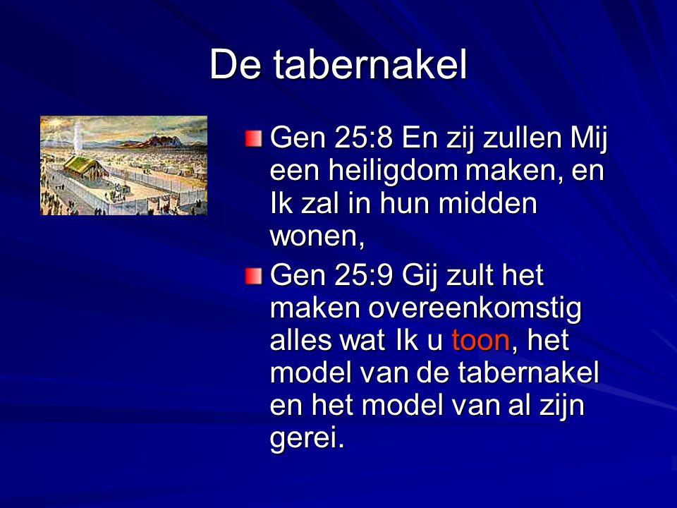 De tabernakel Gen 25:8 En zij zullen Mij een heiligdom maken, en Ik zal in hun midden wonen, Gen 25:9 Gij zult het maken overeenkomstig alles wat Ik u