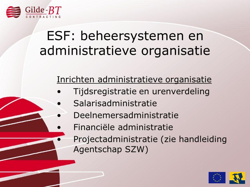 ESF: beheersystemen en administratieve organisatie Inrichten administratieve organisatie •Tijdsregistratie en urenverdeling •Salarisadministratie •Dee