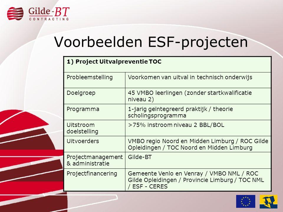 Voorbeelden ESF-projecten 1) Project Uitvalpreventie TOC ProbleemstellingVoorkomen van uitval in technisch onderwijs Doelgroep45 VMBO leerlingen (zond