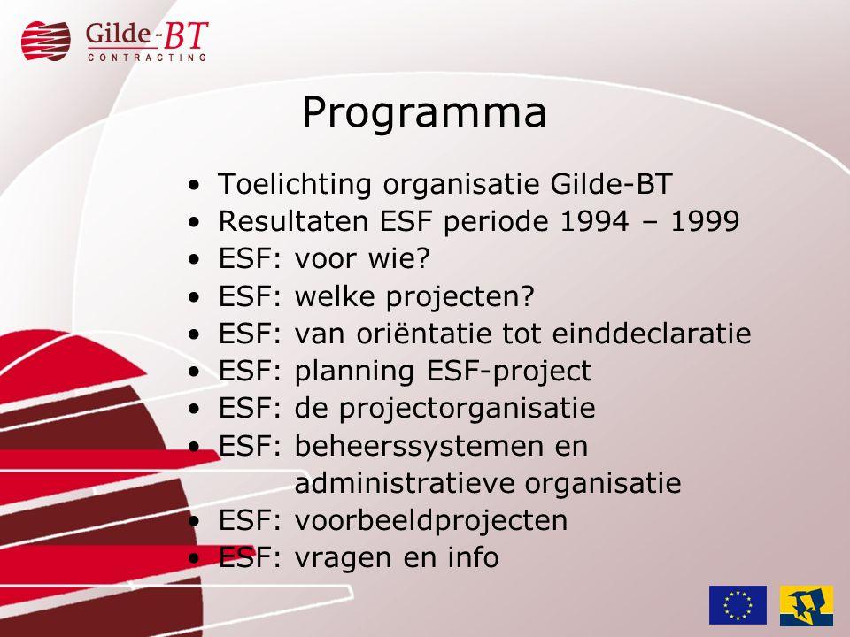 •Toelichting organisatie Gilde-BT •Resultaten ESF periode 1994 – 1999 •ESF: voor wie? •ESF: welke projecten? •ESF: van oriëntatie tot einddeclaratie •