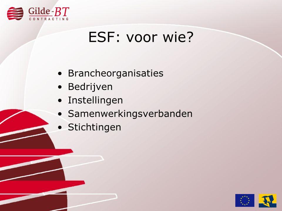 •Scholingsprojecten, ontwikkelingsprojecten voor deelnemers van niveau 1 tot 4 in het kader van de WEB •Scholingstrajecten moeten aansluiten bij de kwalificatiestructuur van de WEB (branche- erkenning) •Aantonen dat geschoold wordt naar een volgend kwalificatieniveau ESF: welke projecten?