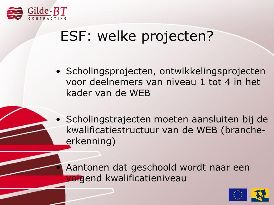 •Scholingsprojecten, ontwikkelingsprojecten voor deelnemers van niveau 1 tot 4 in het kader van de WEB •Scholingstrajecten moeten aansluiten bij de kw