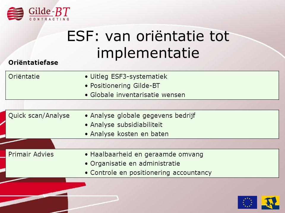 ESF: van oriëntatie tot implementatie Oriëntatiefase Oriëntatie• Uitleg ESF3-systematiek • Positionering Gilde-BT • Globale inventarisatie wensen Quic